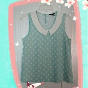 Forever 21 Mint Cat Bibbed Collar size Small